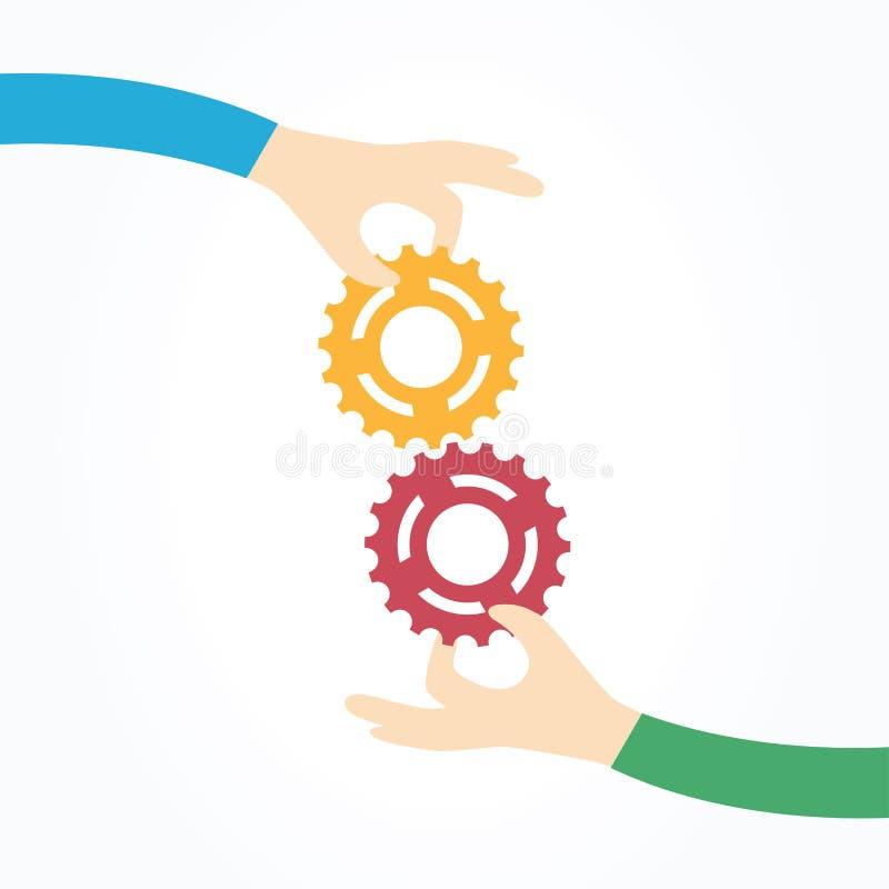 Zwei Hände, die Gänge zusammenhalten lizenzfreie abbildung