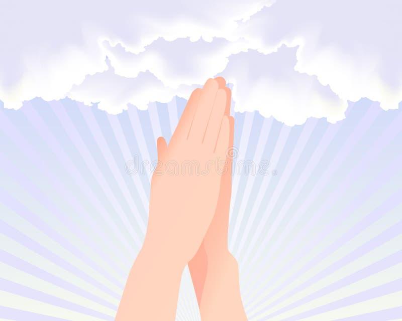 Zwei Hände, die am Himmel beten lizenzfreie abbildung