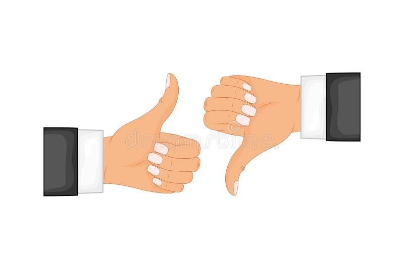 Zwei Hände, die sich Daumen und Daumen unterzeichnet zeigen unten Positiv und negatives Feedback, gute und schlechte Gesten, wie  stock abbildung