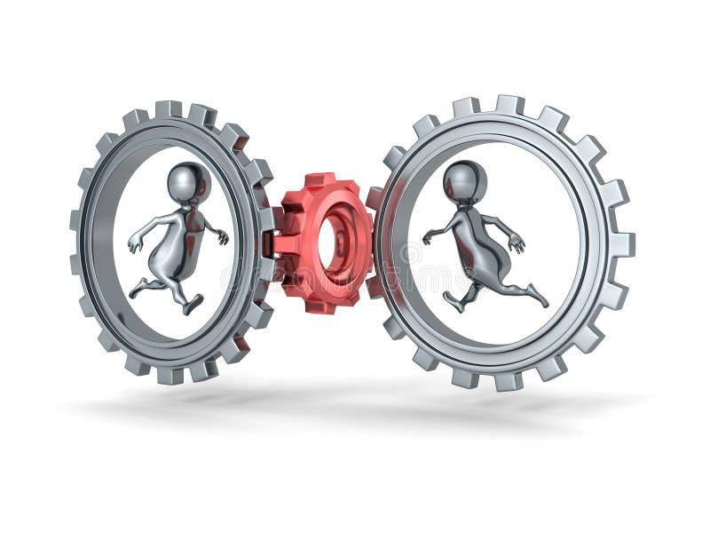 zwei Hände mit verschiedenen Stücken des Puzzlespiels Leute 3d, die in Zahnrad-Gänge laufen stock abbildung
