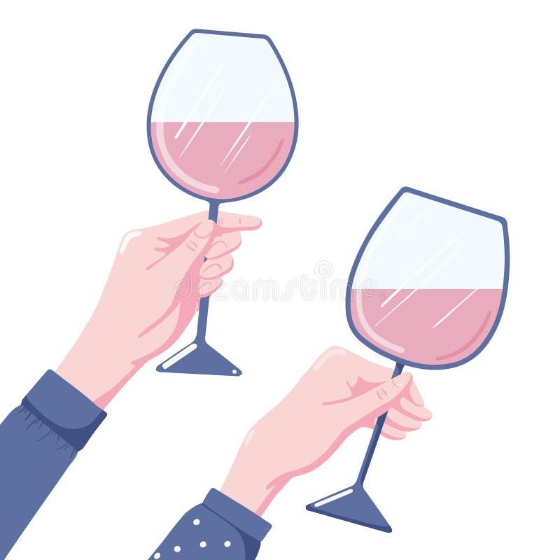 Zwei Hände mit Weingläsern lizenzfreie abbildung