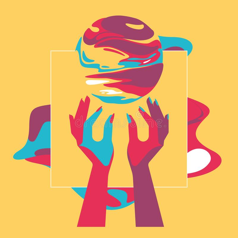 Zwei Hände und Fantasieball, Pop-Arten-Art, Kontrastfarben, flache Illustration, Traumland, Traumwelt lizenzfreie abbildung