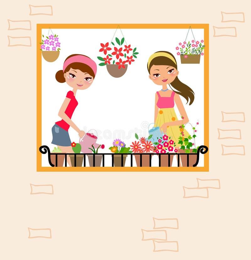Zwei hübsche Mädchen, die Blume wässern stock abbildung