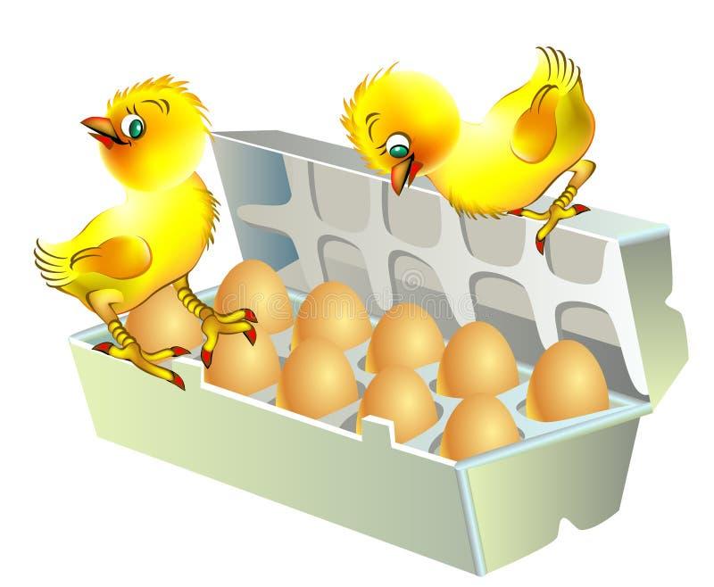 Zwei Hühner, die auf dem Kasten mit Eiern sitzen vektor abbildung