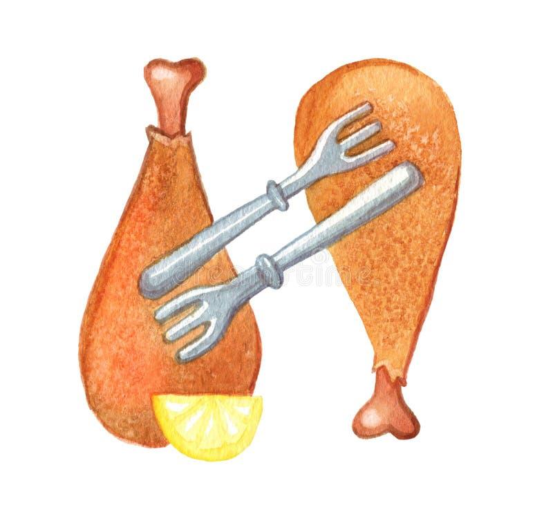 Zwei H?hnerbeine angeschlossen durch zwei Gabeln watercolor Getrennt auf wei?em Hintergrund lizenzfreie abbildung