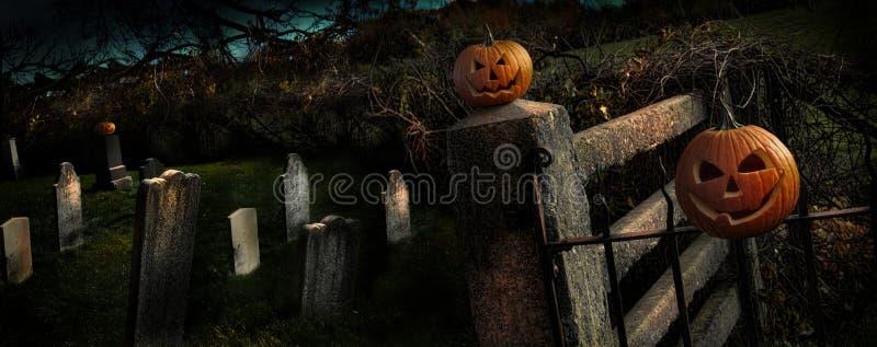 Zwei Halloween-Kürbise, die auf Zaun sitzen stockbilder