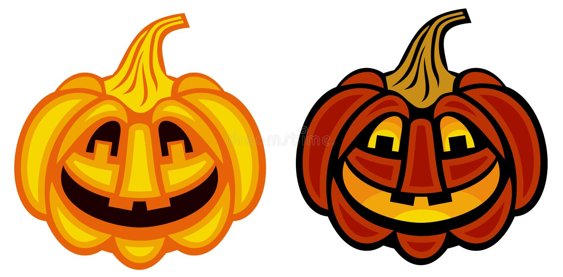 Zwei Halloween-Kürbise lokalisiert auf einem weißen Hintergrund lizenzfreie abbildung