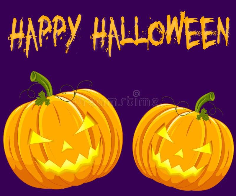 Zwei Halloween-Kürbise mit einer Aufschrift stock abbildung