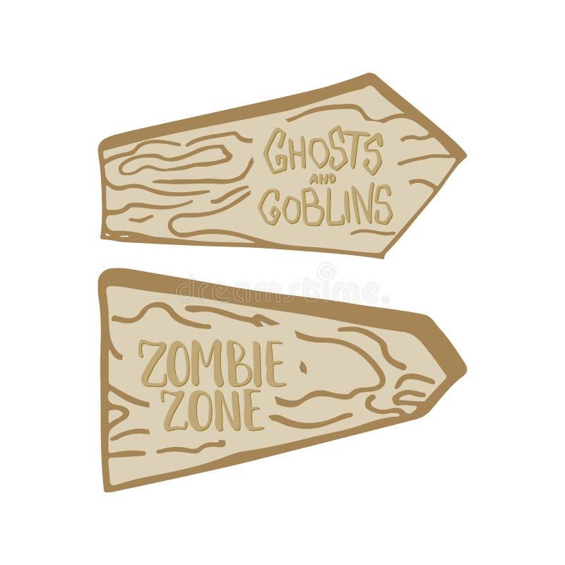 Zwei Hand gezeichnete hölzerne Anschlagtafeln auf dem weißen Hintergrund mit Aufschriften Geist- und Kobold- und Zombiezone vektor abbildung