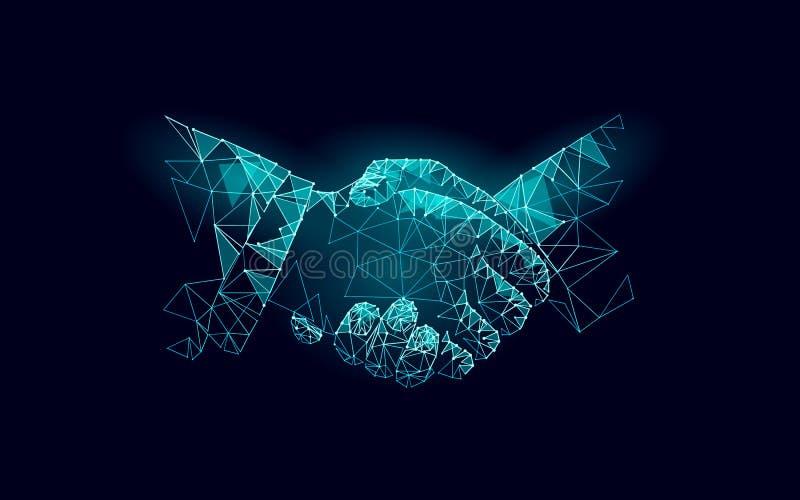 Zwei Handhändedruck-Geschäftsvereinbarung Berufsarbeitspartnerschaft des niedrigen polygonalen Polydreiecks Büro succsesfull stock abbildung