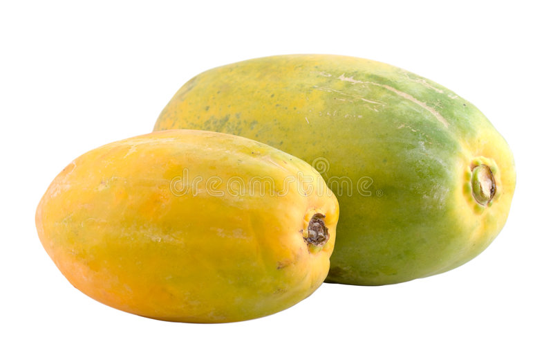 Zwei hawaiische Papayas lizenzfreie stockfotografie
