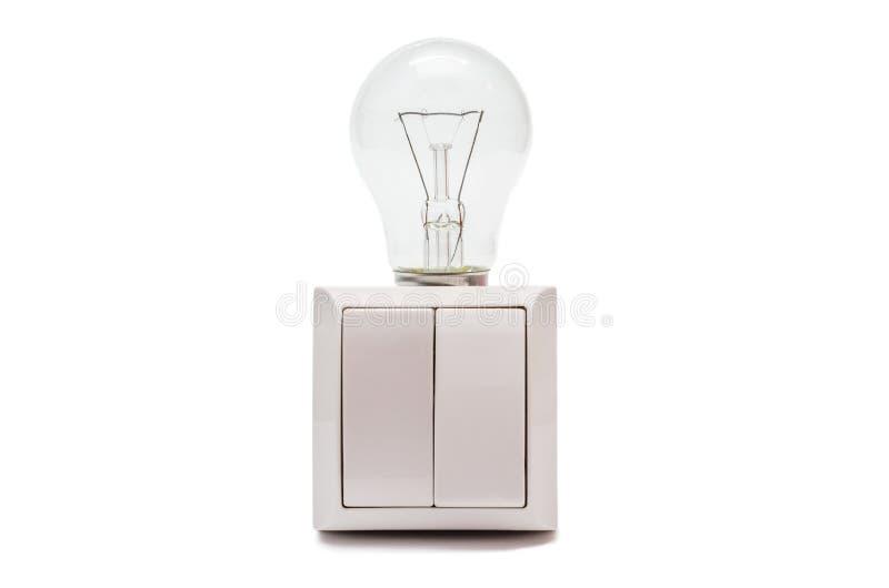 Zwei Hebelschalter mit einer Lampe stockfotografie