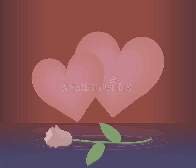 Zwei hellrosa Herzen auf einem roten Hintergrund mit Reflexion und einem Licht stiegen auf Vektor-Grußkarte des blauen Wassers stock abbildung