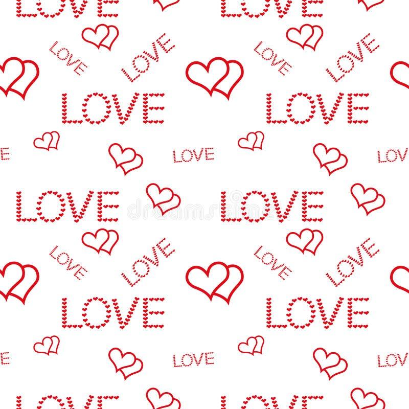 Zwei Herzen und Aufschriften von verschiedenen Größen lieben auf einem weißen Hintergrund lizenzfreie abbildung