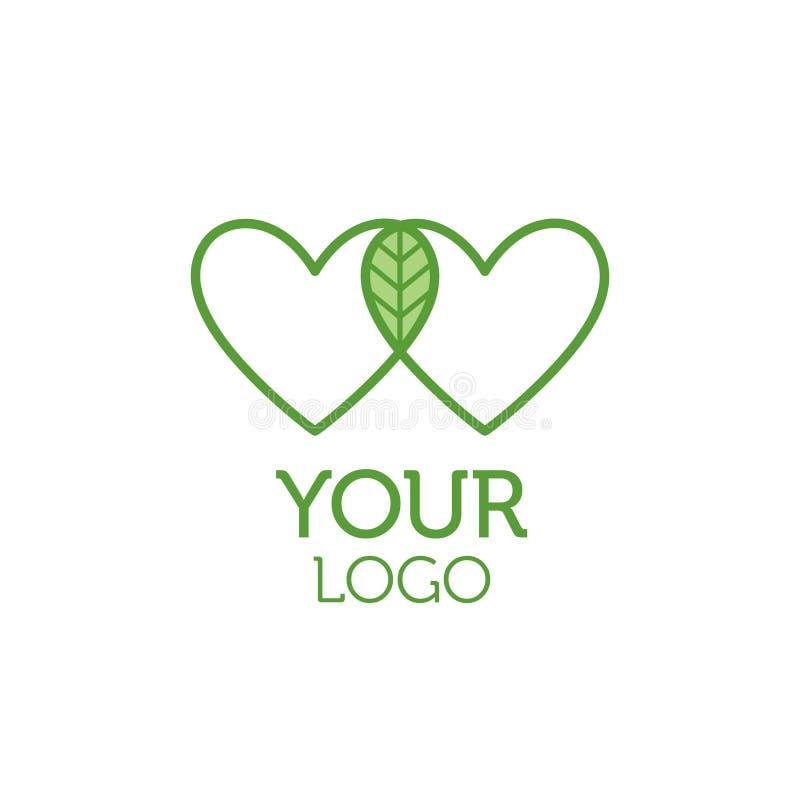 Zwei Herzen und grünes Blattlogo Weißer Knopf auf blauem Hintergrund in der flachen Design-Art lizenzfreie abbildung