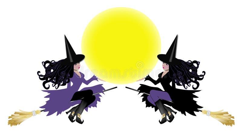 Zwei Hexen mit Mondeinlage lizenzfreie abbildung