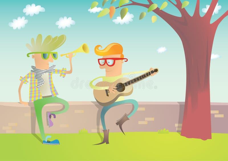 Zwei Hippies, die Gitarre und Trompete spielen vektor abbildung