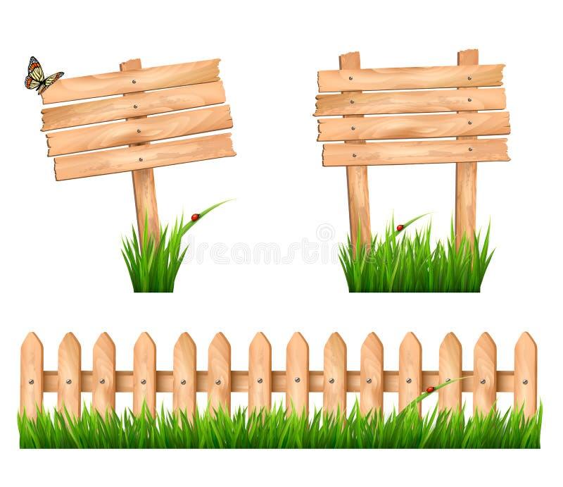 Zwei Holzschilder und ein Zaun mit Gras. vektor abbildung