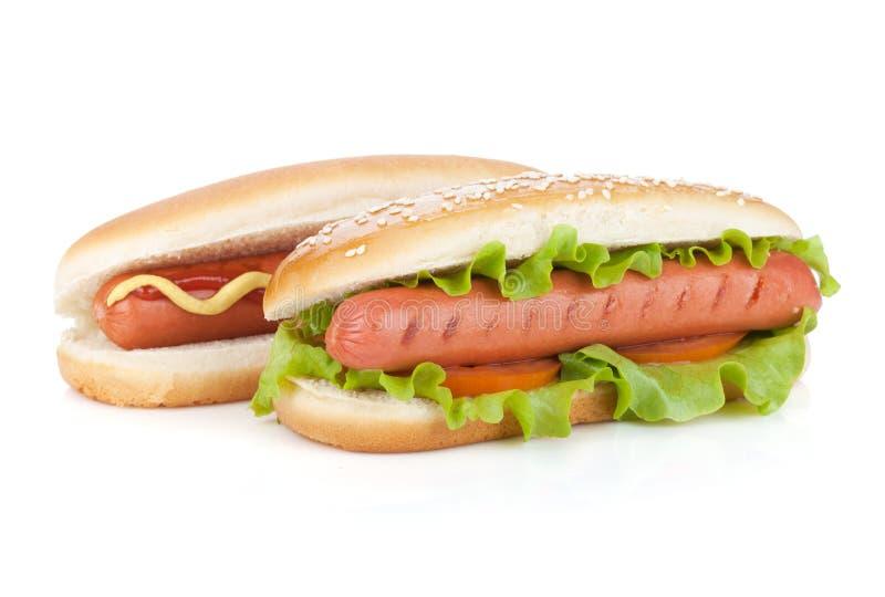 Zwei Hotdoge mit verschiedenen Bestandteilen lizenzfreie stockbilder