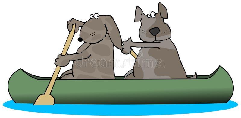 Zwei Hunde in einem Kanu lizenzfreie abbildung