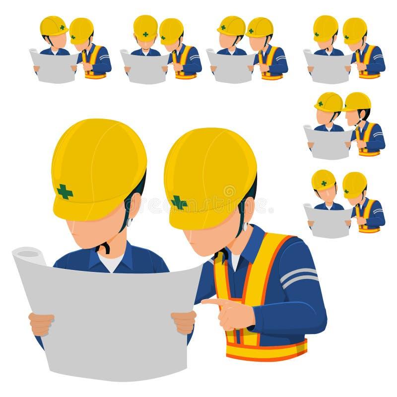 Zwei Ingenieure lasen Zeichnung stock abbildung