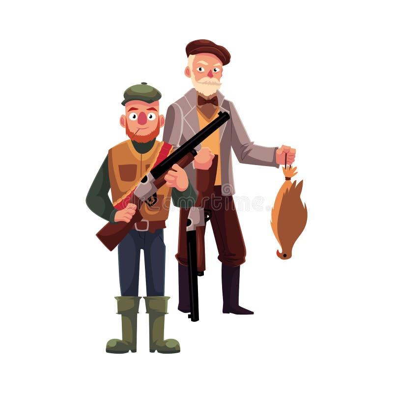 Zwei Jäger, einer modern, ein anderer altmodischer Herr mit Falken lizenzfreie abbildung