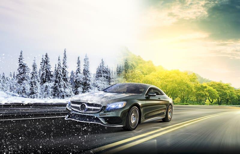 Zwei Jahreszeiten auf dem Straßenauto lizenzfreie stockfotos