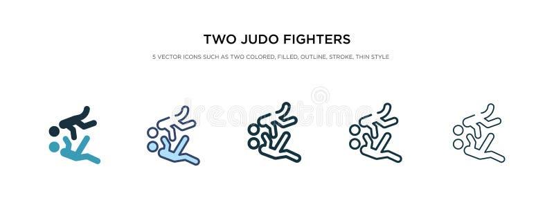Zwei Judo-Kämpfer-Ikone in verschiedenen Stil Vektorgrafiken zwei farbige und schwarze zwei judo-kämpferische Vektor-Icons, die i vektor abbildung