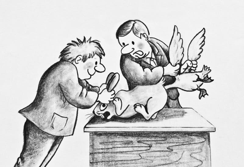 Zwei jugendliche Tyranne behandeln mit Ente und Hasen schlecht vektor abbildung
