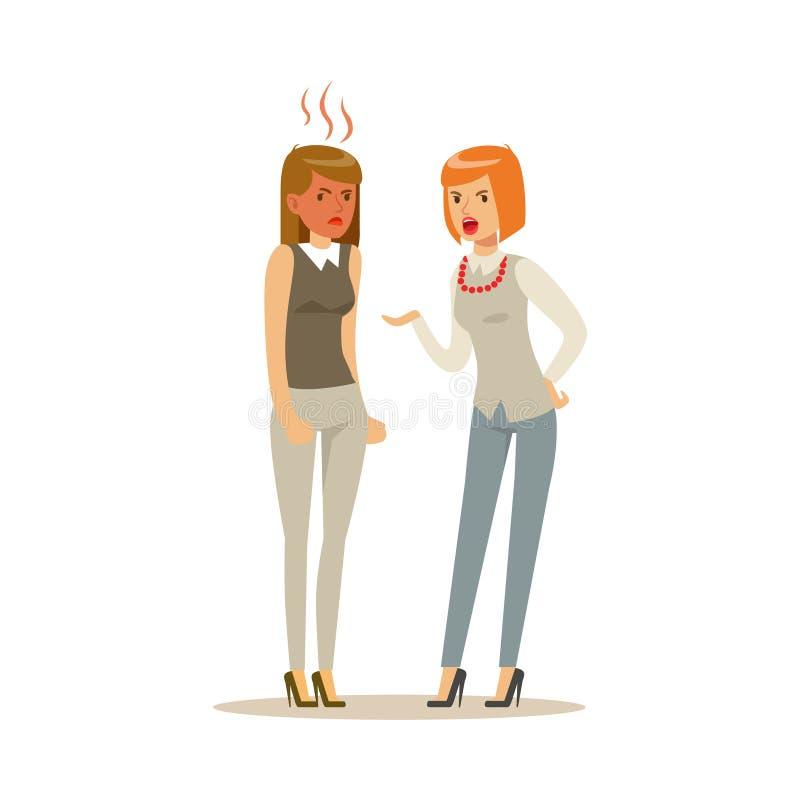 Zwei junge Geschäftsfraucharaktere, die auf einander, negative Gefühlkonzept-Vektor Illustration argumentieren und schreien lizenzfreie abbildung