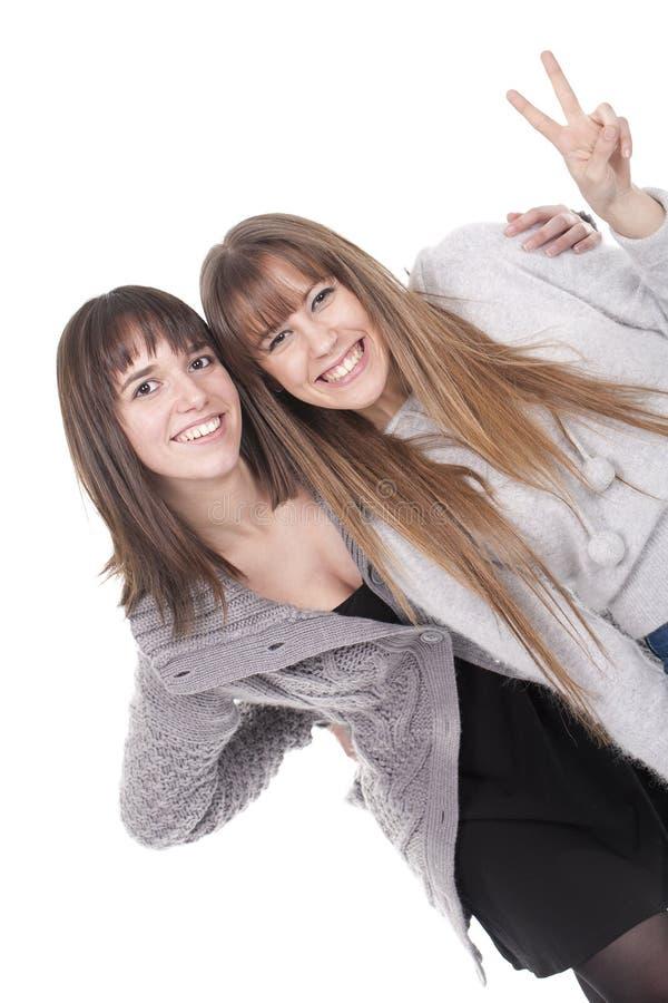 Zwei junge lächelnde und spielende Mädchen stockbild