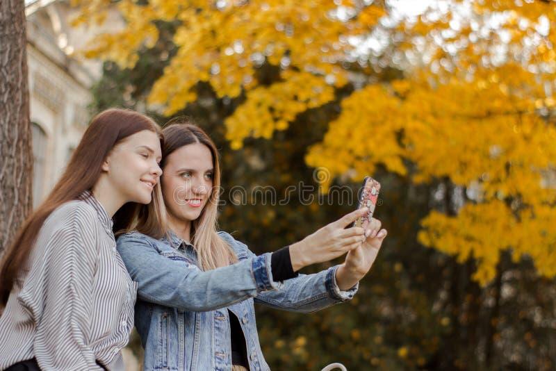 Zwei junge Mädchen, die selfie im Herbstpark nehmen lizenzfreies stockfoto