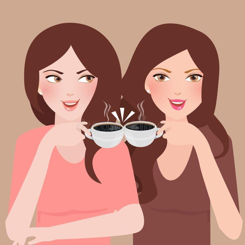 Zwei junge Mädchen, die zusammen in einem trinkenden Kaffee der Cafeteria sprechen vektor abbildung
