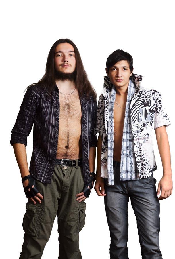 Zwei junge Männer Europäer und Asiat stockfoto