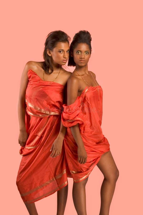 Zwei junge schöne ethnische reizvolle Frauen in der Sari lizenzfreies stockfoto