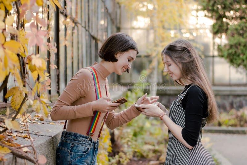 Zwei junge schöne Studenten, die das Telefon im Herbstpark betrachten stockfotos