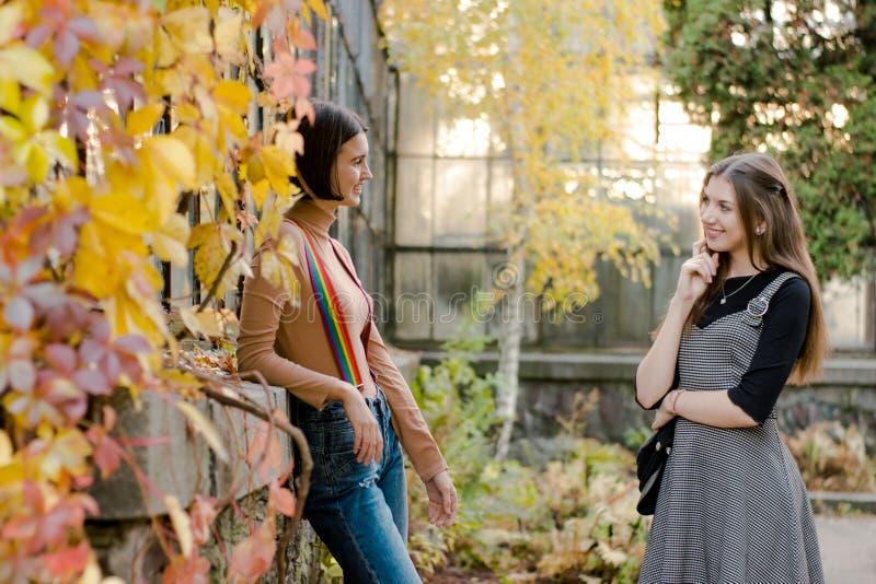 Zwei junge schöne Studenten gehen in den Herbstpark lizenzfreie stockfotos