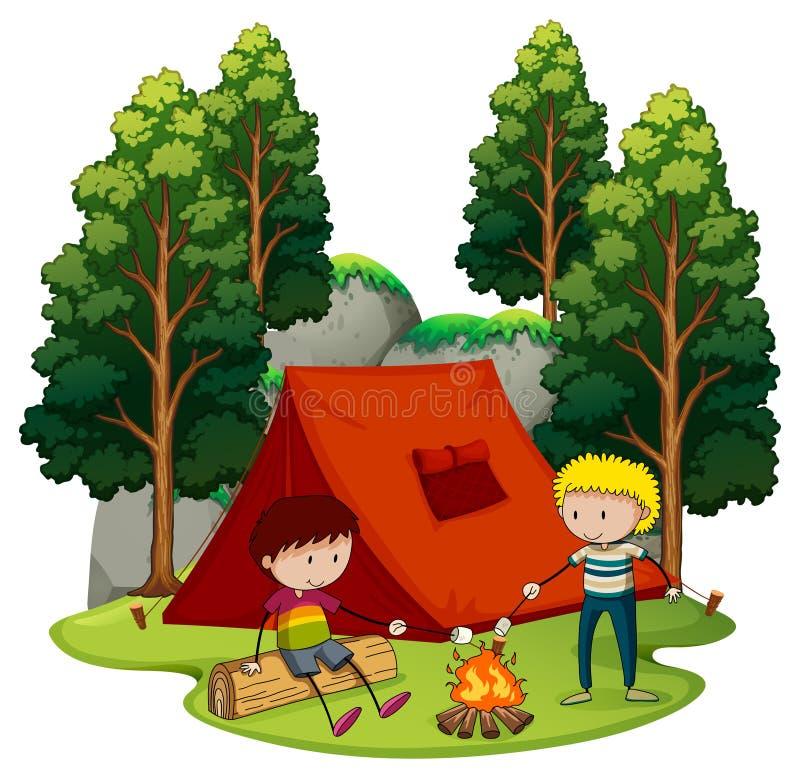 Zwei Jungen, die heraus im Wald kampieren stock abbildung
