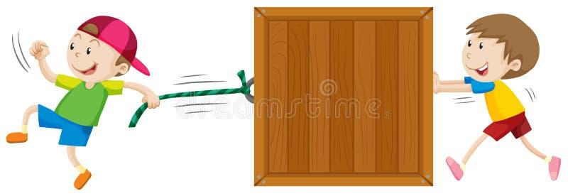 Zwei Jungen, die Holzkiste bewegen vektor abbildung
