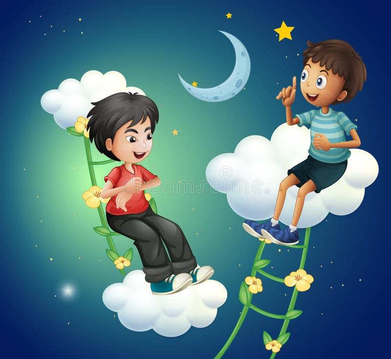 Zwei Jungen, die nahe dem Mond sprechen stock abbildung