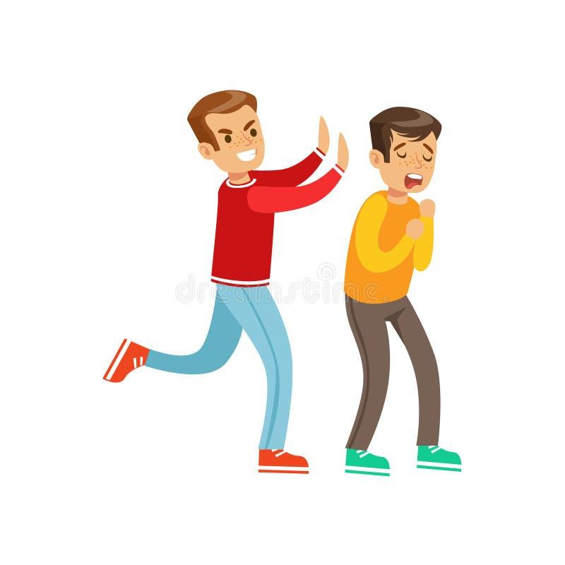 Zwei Jungen-Faust-Kampf-Positionen, aggressiver Tyrann in der langärmligen roten Spitze, die ein anderes Kind drückt stock abbildung