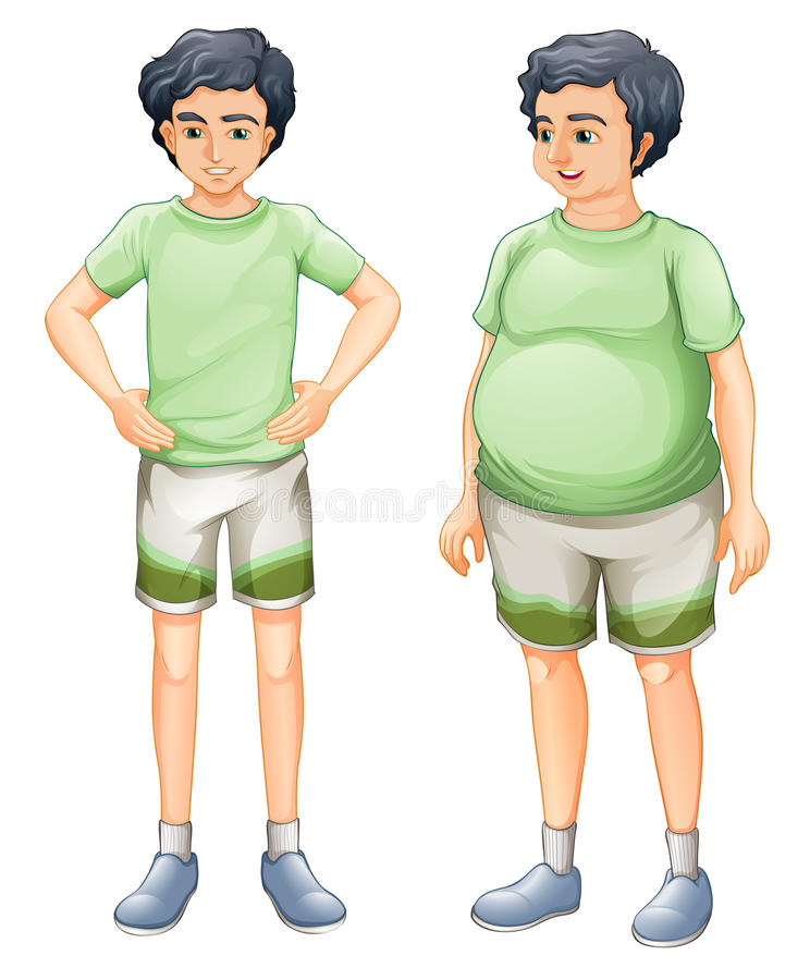 Zwei Jungen mit dem gleichen Hemd aber von verschiedenen Körpergrößen stock abbildung