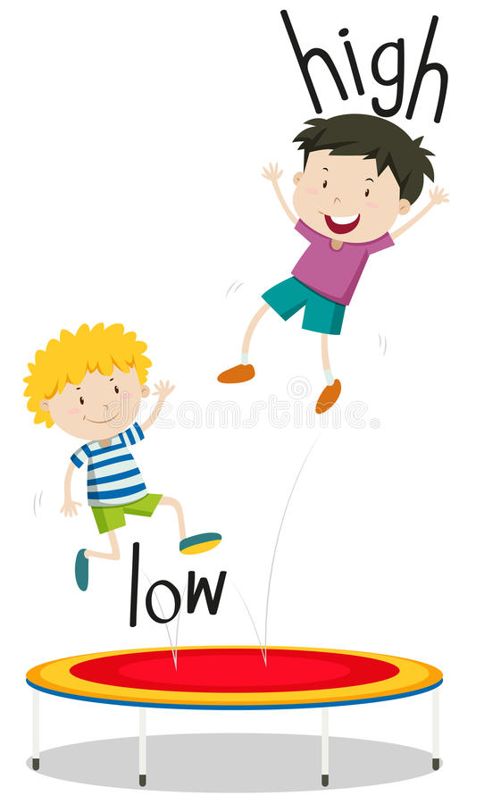 Zwei Jungen niedrig und, die hoch auf Trampoline springen stock abbildung
