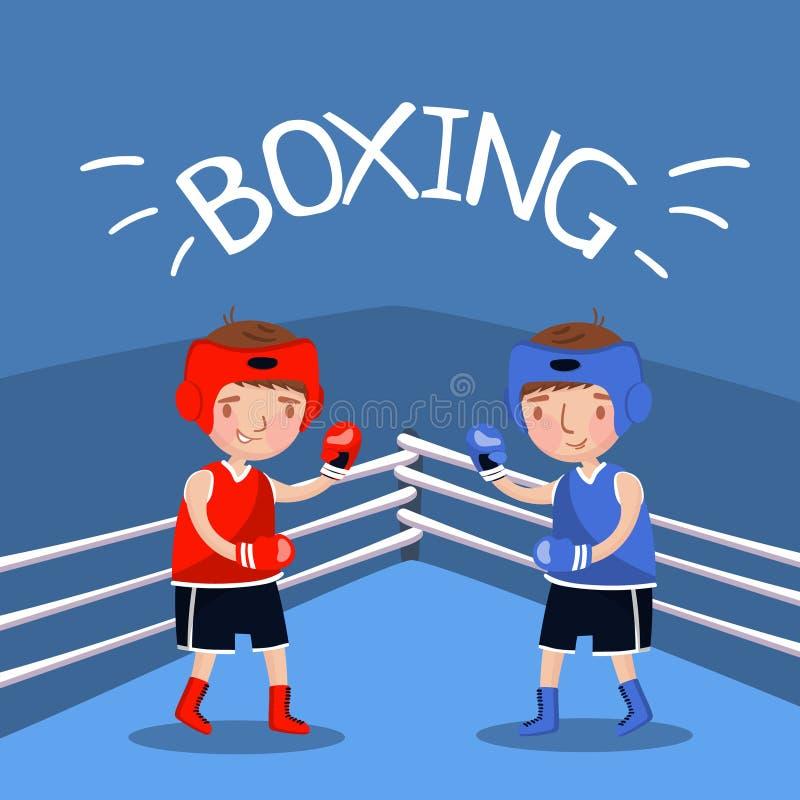 Zwei Jungenboxer, die mit Handschuhen am Gericht kämpfen, Kinder tragen Fahne, Vektor Illustration zur Schau stock abbildung