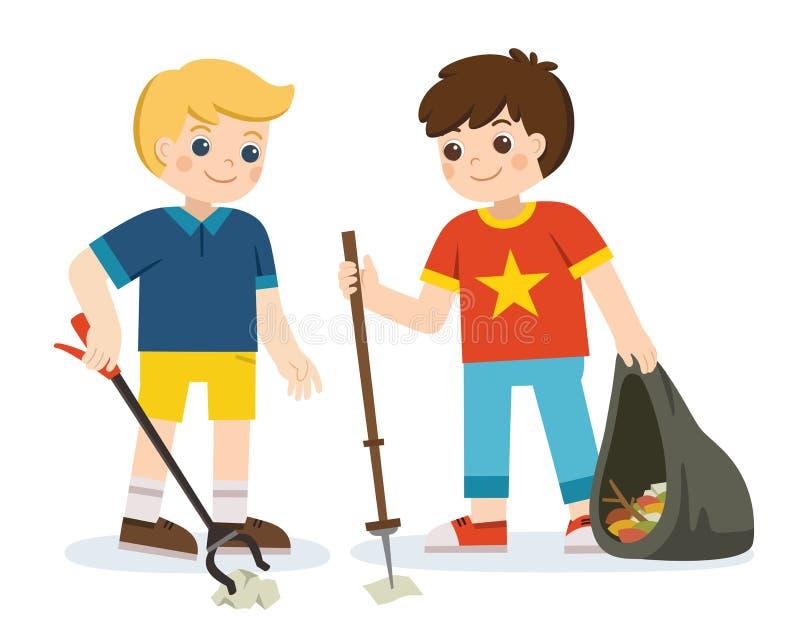 Zwei Jungenfreiwillige, die Pakete halten und Abfall erfassen stock abbildung