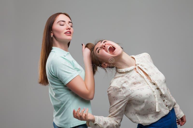Zwei kämpfende Mädchen, Frauenstreit stockbild