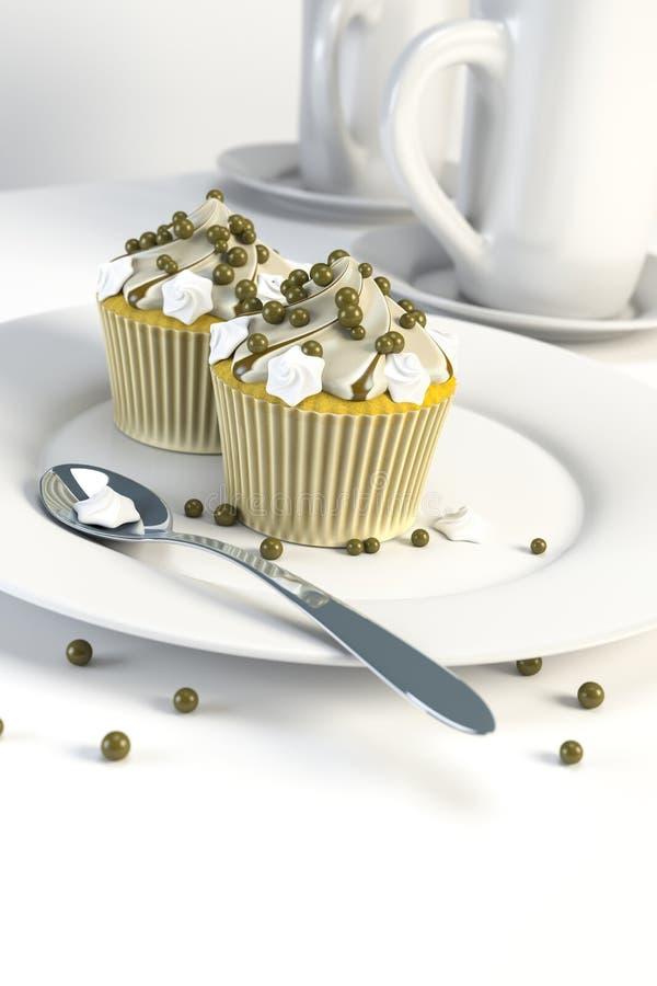 Zwei köstliche kleine Kuchen auf einer Platte stock abbildung
