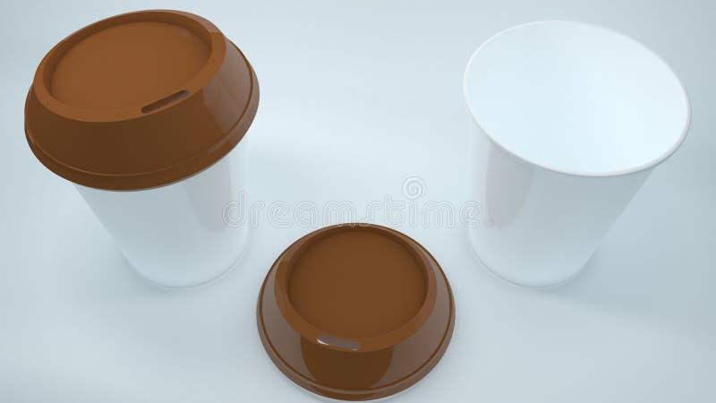 Zwei Kaffeetassen eine mit offenem stock abbildung