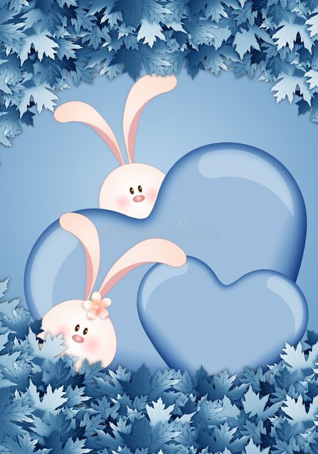 Zwei Kaninchen mit Herzen vektor abbildung