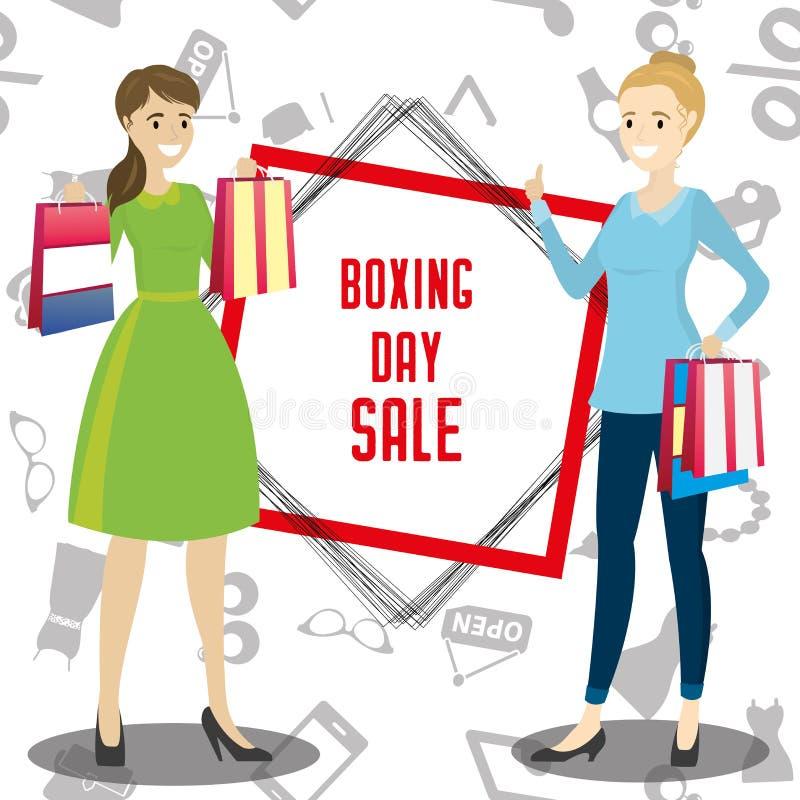 Zwei Karikatur, glückliche Frau, die mit Einkaufstaschen, 26. Dezember steht vektor abbildung